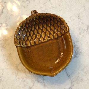 "Pottery Barn Acorn Trinket Dish 5.5"" x 7"" x 1.5"" D"